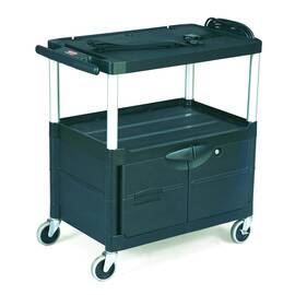 Rubbermaid® FG9T2900BLA 9T29 Mediamaster® Audio-Visual Cart, 150 lb Capacity, 32.1 in H X 18.6 in W X 32-1/2 in D, 3 Shelves