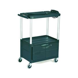 Rubbermaid® FG9T3200BLA 9T32 Mediamaster® Audio-Visual Cart, 200 lb Capacity, 42.4 in H X 18.6 in W X 32-1/2 in D, 3 Shelves