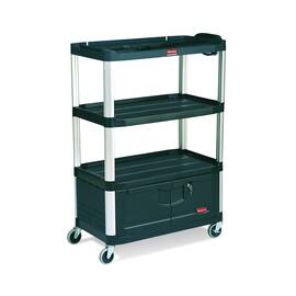 Rubbermaid® FG9T3500BLA 9T35 Mediamaster® Audio-Visual Cart, 300 lb Capacity, 48 in H X 20 in W X 36-1/2 in D, 4 Shelves