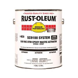 RUST-OLEUM® 258455 SC9100 SYSTEM 2-COMPONENT DTM EPOXY MASTIC ACTIVATOR, 1 GAL CONTAINER, LIQUID FORM, CLEAR GLASS, 130 TO 220 SQ-FT/GAL COVERAGE, 7 DAYS CURING