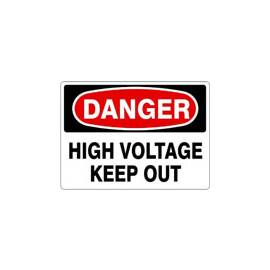 "Sign Danger High Voltage Keep Out 10"" X 14"" Plastic D-373933"
