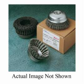 SAIT® Industrial 09552 Large Cup Brush With Nut Inside, 5 In Dia, 5/8-11, 0.02 In Stainless Steel Crimped Wire