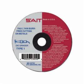 SAIT® 23042 Type 1 Burr Free Fast High Speed Thin Cut Cut-Off Wheel, 3 In Dia X 1/16 In Thk, 1/4 In, A36T Grit, Aluminum Oxide Abrasive
