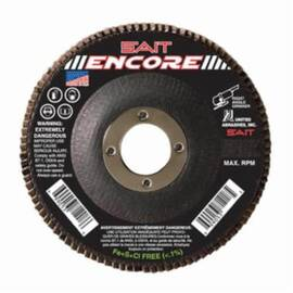 SAIT® 79111 Encore High Performance Coated Flap Disc, 4-1/2 In Dia, 7/8 In, 120/Fine, Zirconium Abrasive, Type 29/Conical