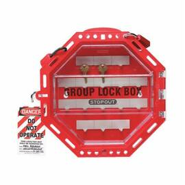 STOPOUT® KCC624 LOOK N STOP GROUP LOCKOUT BOX, 42 PADLOCKS, HINGED DOOR, RED, 4-1/2 IN H X 14-1/2 IN W X 4-1/2 IN D, WALL MOUNTING, 16 KEY HOOKS