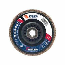 Saber Tooth™ Coated Abrasive Flap Disc, Premium, 4-1/2 in Disc Dia, 7/8 in Center Hole, 36 Grit, Very Coarse Grade, Ceramic Alumina Abrasive, Type 29/Angled Disc, Phenolic Backing, 13000 rpm Maximum