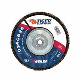 Saber Tooth™ Coated Abrasive Flap Disc, Premium, 7 in Disc Dia, 7/8 in Center Hole, 36 Grit, Very Coarse Grade, Ceramic Alumina Abrasive, Type 29/Angled Disc, Phenolic Backing, 8600 rpm Maximum