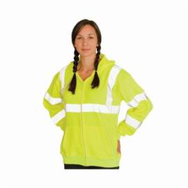 PIP® Safetygear High Visibility Sweatshirt, Series: Premium, XL, Yellow, Wicking Polyester, 28.3 In Length, 49.6 In Chest, Zipper Front Closure, 8 Oz Fabric Weight, 2 Pockets