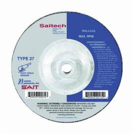 SAIT® Saitech Ultimate Performance™ 20164 High Performance Depressed Center Wheel, 4-1/2 In Dia X 1/4 In Thk, 5/8-11, 24 Grit, Ceramic Aluminum Oxide Abrasive