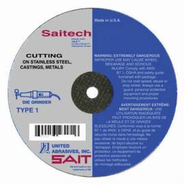 SAIT® Saitech Ultimate Performance™ 23150 Type 1 High Performance Thin Cut Cut-Off Wheel, 3 In Dia X 0.035 In Thk, 3/8 In, 46 Grit, Ceramic Alumina Abrasive