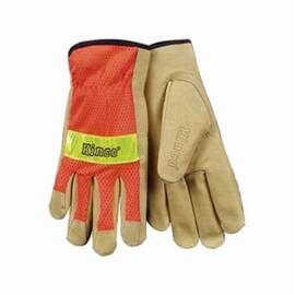 Kinco® 909 Drivers Glove, High Visibility Men's, Grain Pigskin Leather Palm, Nylon Back, Unlined, Palomino/Orange