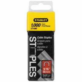 Stanley® Ct109T Heavy Duty Round Crown Cable Staple, 9/16 In L Leg, Divergent Point, 5/16 In W Crown, Steel