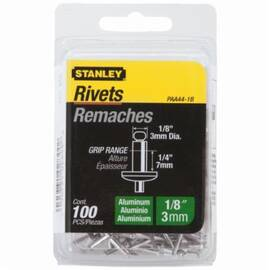 Stanley® PAA44-1B Medium Strength Blind Rivet, 1/8 in Dia, 1-5/8 in L, 1/4 in Grip, Aluminum