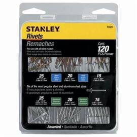Stanley® R120 Blind Dome Head Solid Core Rivet Assortment Pack, Imperial, Aluminum/Steel, 120 Pieces