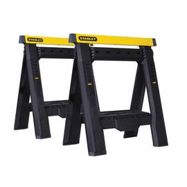 Stanley® Sawhorse, Adjustable, 1000 lb Load, 31-1/8 in Height, 2-7/8 in Width, Polypropylene, Black/Yellow