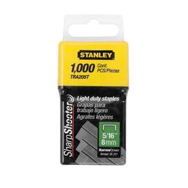 Stanley® Tra205T Tra200 Light Duty Narrow Crown Staples, 5/16 In L Leg, 29/64 In W Crown, Galvanized Steel