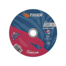 Tiger® Cut-Off Wheel, Flat Long Life Performance Line Reinforced Small Thin, 7 in Wheel Diameter, 0.06 in Wheel Thickness, 7/8 in Center Hole, A60T Grit, Medium Grade, Premium Aluminum Oxide Abrasive, 8500 rpm Maximum, Resin Bond, Applicable Materials: C