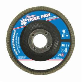 Tiger Paw™ 51121 High Performance Coated Flap Disc, 4-1/2 In Dia, 7/8 In, 80/Medium, Zirconia Alumina Abrasive, Type 29/Angled