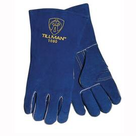 Tillman™ 1080-L Welding Gloves, L, Blue, Side Split Cowhide Leather