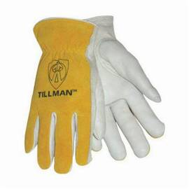 Tillman™ 1414 Drivers Glove, Grain Cowhide Leather Palm, Unlined, Bourbon/Brown/Pearl