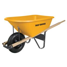 True Temper® Wheel Barrow, 6 cu-ft Capacity, Plastic Tray, 26-1/2 in H x 29-1/2 in W x 59-3/4 in D Tray, Hardwood Handle, 1 Wheels, Tubed Tire Wheel