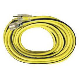 Voltec Extension Cord, Type SJTW, 300 VAC, 15 A, 1875 W Electrical Rating, 25 ft Cord Length, 3 Conductors, 12 AWG Conductor, NEMA 5-15R Receptacle, NEMA 5-15P Plug, -40 to 140 deg F, Black/Yellow
