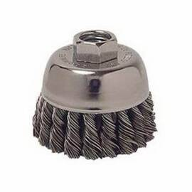 Vortec Pro® Cup Brush, Single Row, 3 in Brush Dia, 5/8-11 UNC Arbor Hole Size, Standard/Twist Knot Filament/Wire Type, 0.02 in Filament/Wire Diameter, Stainless Steel Fill, 14000 rpm Maximum