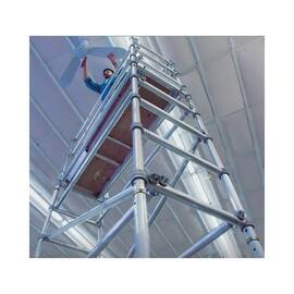WERNER® Platform Scaffold Tower, Narrow Span, Series: 4100-23, 11 ft 6 in Length, 9 ft 6 in Width, 26 ft 4 in Height, 500 lb, 2 ft 5 in Platform Width, 8 ft Platform Depth, 23 ft Platform Height, Aluminum