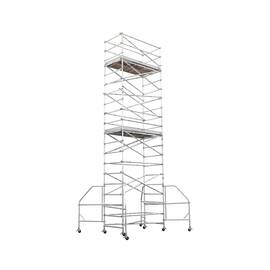 WERNER® Platform Scaffold Tower, Wide Span, Series: 4200-23, 10 ft 10 in Length, 10 ft 10 in Width, 26 ft 4 in Height, 1000 lb, 4 ft 6 in Platform Width, 6 ft Platform Depth, 23 ft Platform Height, Aluminum