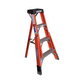 WERNER® Step Ladder, Type IA Heavy Duty Tripod, Series: FTP6200, 4 ft Ladder Height, 300 lb, Fiberglass, 3 Steps, 30-1/2 in Base Spread, 31 in Bottom Width, Ribbed Tread