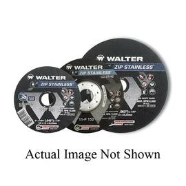 Walter Surface Technologies ZIP STAINLESS™ Cut-Off Wheel, High Performance, 6 in Wheel Diameter, 3/64 in Wheel, 7/8 in Center Hole, A-60-SS-ZIP Grit, Aluminum Oxide Abrasive, 10200 rpm Maximum, Resinoid Bond, Applicable Materials: Stainless Steel, Wheel