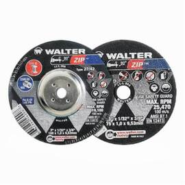 Walter Zip™ 11-T 242 Type 1 High Performance Cut-Off Wheel, 4-1/2 In Dia X 1/16 In Thk, 7/8 In, A46Zip Grit, Aluminum Oxide Abrasive