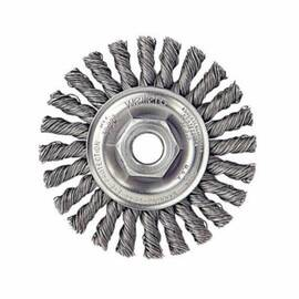 Weiler® Wheel Brush, 4 in Brush Dia, 1/4 in Face Width, 5/8-11 Arbor Hole Size, Cable Twist Knot Filament/Wire Type, 0.02 in Filament/Wire Diameter, Stainless Steel Fill, 7/8 in Trim Length, 20000 rpm Maximum, Threaded Arbor Attachment
