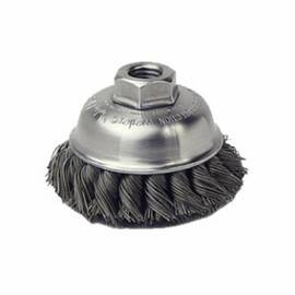 Mighty-Mite™ Cup Brush, Single Row, 3-1/2 in Brush Dia, 5/8-11 UNC Arbor Hole Size, Standard/Twist Knot Filament/Wire Type, 0.023 in Filament/Wire Diameter, Steel Fill, 7/8 in Trim Length, 13000 rpm Maximum