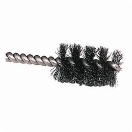 Weiler® 21081 Double Spiral Double Stem Power Tube Brush, 1/4 In Dia X 1 In L, 3-1/2 In OAL, 0.004 In Stainless Steel Wire
