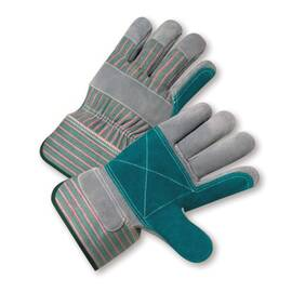 West Chester Leather Palm Gloves, Double Palm, Series: 500Dp, M Size, Split Cowhide Leather Palm, Canvas/Split Cowhide Leather, Green/Pink Stripe Back, Gunn Cut/Wing Thumb Style, Unlined Lining, Rubberized Safety Cuff, Uncoated Coating, 9-5/8 In Length