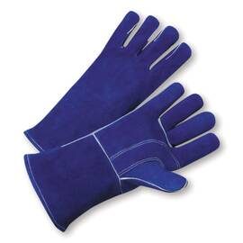 West Chester 945 Premium Grade Welders Gloves, L, Blue, Wing Thumb, Split Cowhide Leather/Kevlar® Thread