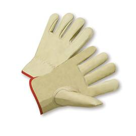 West Chester 990IK Drivers Glove, Premium Grade, Grain Cowhide Leather Palm, Unlined, Uncoated, 10 in Length, White