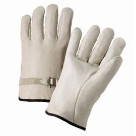West Chester 990LS Drivers Glove, Premium Grade, Grain Cowhide Leather Palm, Unlined, Uncoated, 10 in Length, White