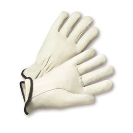 West Chester 999 Drivers Glove, Premium Grade, Grain Cowhide Leather Palm, Thermal Lining, Uncoated, 9-1/2 in Length, White