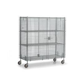 Williams® Bulk Storage Cage, 62 in Width, 28-1/2 in D, 68 in Height, 900 lb, Polished Chrome