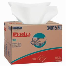 Wypall* 34015 X60 Lightweight General Purpose Wiper, 180 Sheets, 16.8 X 12.5 In, Hydroknit*, White