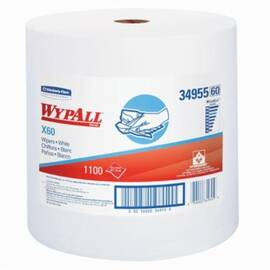 Wypall* 34955 X60 Lightweight General Purpose Wiper, 1100 Sheets, 13.4 X 12.5 In, Hydroknit*, White
