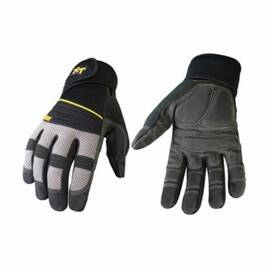 Youngstown® 03-3200-78 Protective Glove, Anti-Vibe Xt, Synthetic Leather Palm, Oil and Water Resistant, Black/Gray