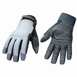 Youngstown® 04-3070-70 Mechanics Glove, Mesh Utility Plus, Synthetic Leather Palm, Unlined, Gray
