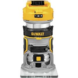 DeWALT® Compact Electric Router, Brushless Cordless, Bare Tool Tool/Kit, Series: 20V MAX, 1/4 in Chuck, 0 to 25500 rpm, 20 VAC, Plastic Housing, Black/Yellow, Push Button Switch, 7-1/2 in H x 4 in W x 4-3/4 in D