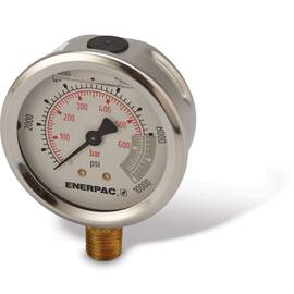 Enerpac® G2535L, Hydraulic Pressure Gauge, 2.50 in Face, Lower Mount, Glycerine Filled, 10,000 maximum Psi