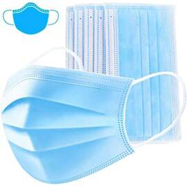 Disposable Face Mask, 3 Layers, Pleated, Ear Loops
