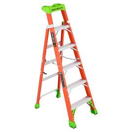 Louisville® Fxs1506 Fxs1500 Type IA 2-In-1 Cross-Step / Shelf Ladder, 6 Ft H Ladder, 300 Lb Load, 5 Steps, Fiberglass, A14.5