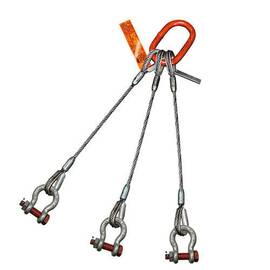 HSI® Three Leg Wire Rope Slings | Bolt Anchor Shackle Ends | EIPS IWRC